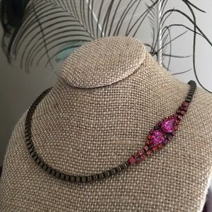 Vintage C&I Petite Pear Crystal Collar Necklace